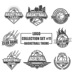 logo collection set with basketball theme vector image