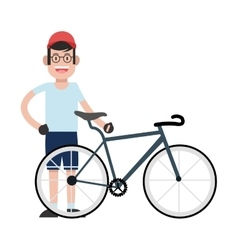 man wearing cap with bike icon vector image