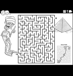 Maze with cartoon mummy and pyramid coloring book vector
