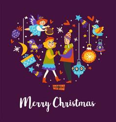 merry christmas winter holidays xmas celebration vector image