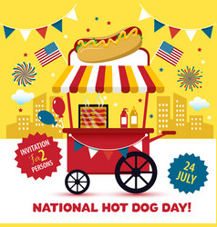 National hot dog day hot dog vector