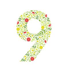 number 9 green floral number made leaves and vector image
