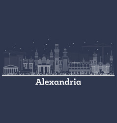 outline alexandria egypt city skyline with white vector image
