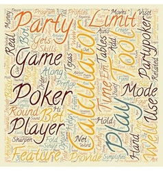 Overview of party poker calculator text background vector