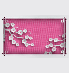 pink oriental pattern background with sakura vector image