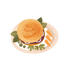 Plate with big appetizing burger decorated with vector