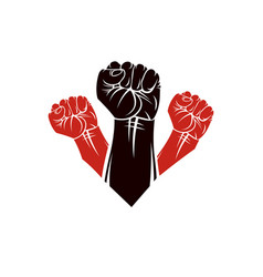 Raised clenched fists people demonstration vector