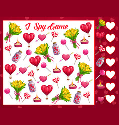 Saint valentine day i spy math game for children vector