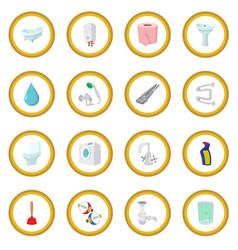 Sanitary engineering cartoon icon circle vector
