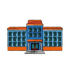School building exterior windows doors vector