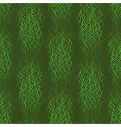 Seamless pattern abstract wavy lines on a green vector