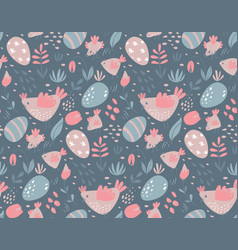 seamless pattern with rabbits chicken and vector image
