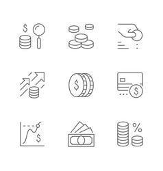 set line icons money vector image