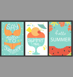 set of 3 posters of summertime vector image