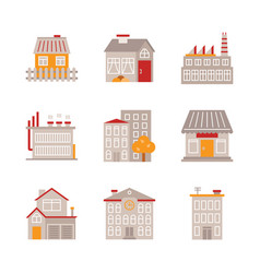 set of building icons and concepts in flat style vector image