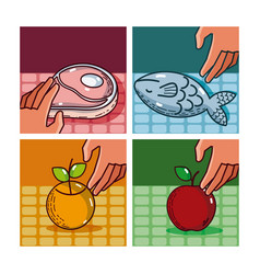Set of supermarket products vector