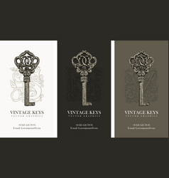 set of three business cards with vintage keys vector image