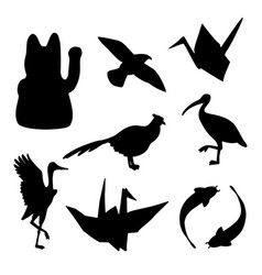 Set of traditional japanese animals silhouettes vector