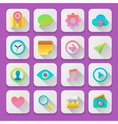 Set web icons flat UI design trend vector image