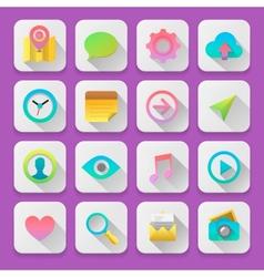 Set web icons flat UI design trend vector