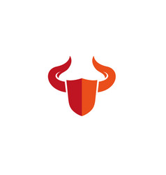 Shield with big bull horns for logo design vector