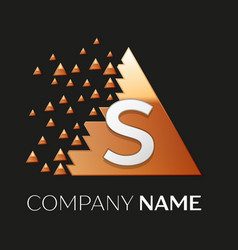 Silver letter s logo symbol in the triangle shape vector