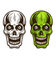 Skull set of two styles monochrome and colored vector