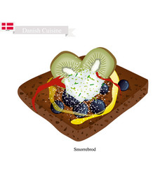 smorrebrod with slice kiwi the national dish of d vector image