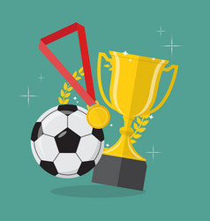 Soccer ball with achievement awards vector