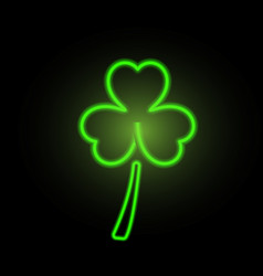 st patricks day clover neon lights vector image