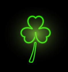 St patricks day clover neon lights vector