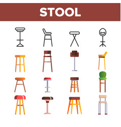 Stool sitting furniture linear icons set vector