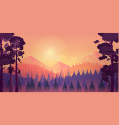 sunset landscape with mountain and forest vector image