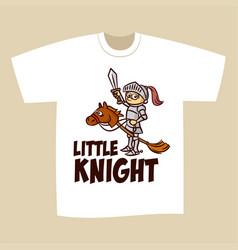 T-shirt print design little knight vector