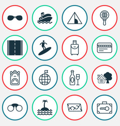 tourism icons set with safe luggage backpack vector image