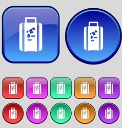 Travel luggage suitcase icon sign A set of twelve vector