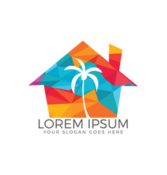 Tropical beach house and palm tree logo design vector