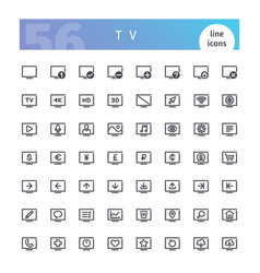 tv line icons set vector image