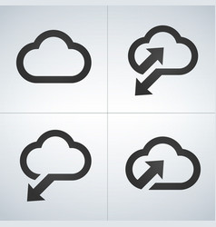 upload to cloud download from cloud sunc icon set vector image
