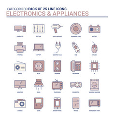 Vintage electronics and appliances icon set - 25 vector