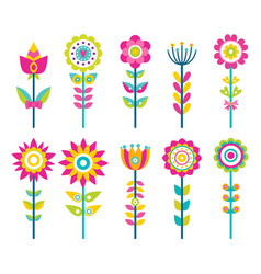 wild field flowers in colorful ornamental design vector image