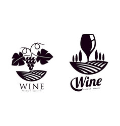 Winery silhouette conceptual icon set isolated vector