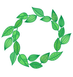 Wreath chaplet coronal from green leaves summer vector
