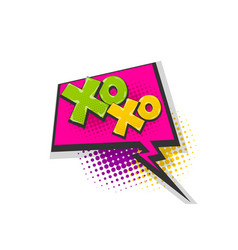 Xoxo pop art comic book text speech bubble vector