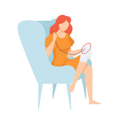 Young woman sitting in armchair and embroidering vector