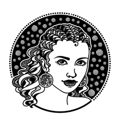 Zentangle stylized girl vector image