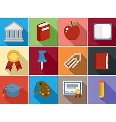 Education flat icons set design vector image