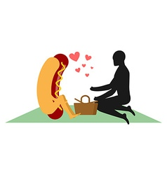 Hot dog on picnic date in Park Fast food and vector image