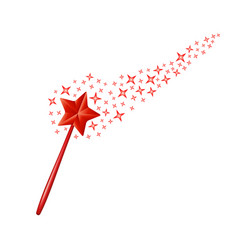 magic wand with stars in red design vector image vector image