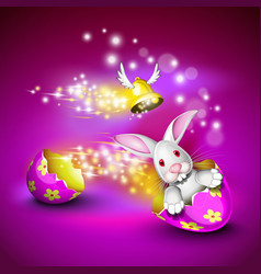 Funny bunny driving an egg shell vector